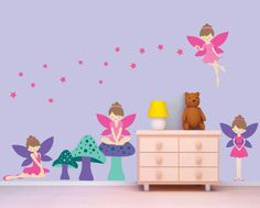 Fairy Wall Decal, Fairies Wall Decal, Girls Reusable Wall Decal    ₪392.52 ILS
