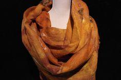 Grote kastanje bruine sjaal van zijde en vilt voor dames, nunofelt 52