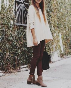 white sweater + burgundy pants