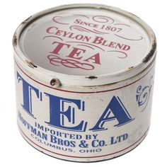 antique look Cracker Barrel Old Country Store Decorative Tea Canister ... white cylinder lettered Tea Imported by Hoffman Bros, with clear lid lettered Since 1807 Ceylon blend, c. 2017