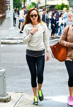 Dakota Johnson looked ridiculously comfy in her workout attire.
