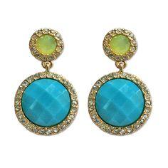 Light Blue Round Jewel Dangle Earrings