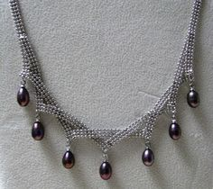 Chainmaile Pearl Necklace by JebedisJewels on Etsy, $35.00
