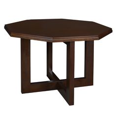 This elegant Belcino octagon table has geometric designs that really set it apart. The hardwood frame has an x-shaped base making it sturdy and durable. Finished in hand-rubbed veneer, this table has detailed edge beveling and a two-inch thick table top.