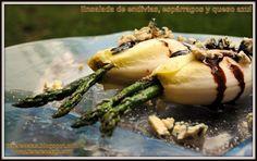 Ensalada de endivias, espárragos y queso azul, Receta Petitchef