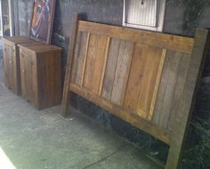 Headboard made from reclaimed wood from barn