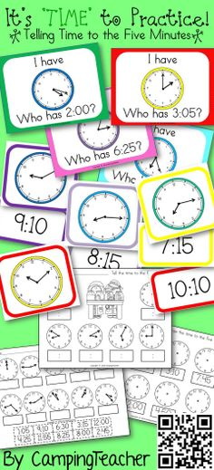 Telling time to the 5 minutes! Math center matching game. worksheets, and I have who has game.