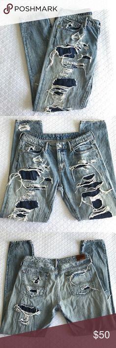 Ralph Lauren Denim & Supply ripped jeans 28 Ralph Lauren Denim & Supply ripped blue jeans size 28 like new!! Denim & Supply Ralph Lauren Jeans Boyfriend