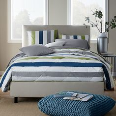 St. Tropez Summit Stripe Down Comforter & Sham by The Company Store