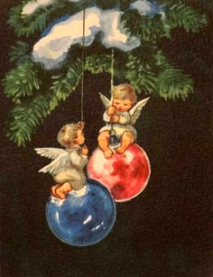 Erica Von Kager - Vintage Christmas Angel on Balls Brownie Card Christmas Scenes, Retro Christmas, Christmas Angels, Christmas Art, Christmas Greetings, Christmas Decorations, Vintage Christmas Images, Vintage Holiday, Christmas Pictures