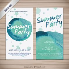 Watercolor summer party banners Free Vector