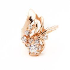 14k Rose Gold Cubic Zirconia Cluster Ring  Size 5 #UniQJewels #Cluster