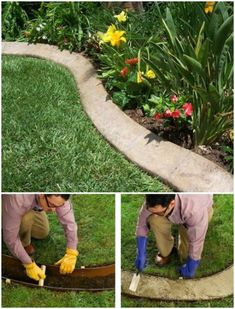 Concrete garden Edging - 17 DIY Garden Edging Ideas That Bring Style And Beauty To Your Outdoors. Landscaping With Rocks, Front Yard Landscaping, Backyard Landscaping, Tropical Backyard, Landscape Edging, Garden Landscape Design, Unique Gardens, Kew Gardens, Diy Garden