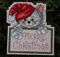 Cross Stitch adornos de Navidad - feliz Navidad gato
