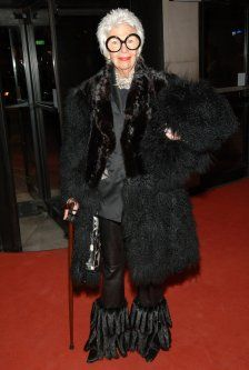 Some Flare in leather pants with some added furry flare at Chado Ralph Rucci's 25th Anniversary Retrospective in 2007