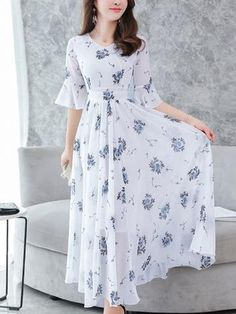 Fashion Chiffon V-Neck Flare Sleeve Print Maxi Casual Dresses - dressesstar Casual Dresses, Fashion Dresses, Maxi Dresses, Women's Fashion, Fashion Boots, Latest Fashion, Fashion Trends, Summer Dresses, Hijab Style
