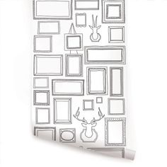 Frames Peel & Stick Fabric Wallpaper Repositionable - Simple Shapes Wall Decals, Furniture, and Accessories Framed Wallpaper, Wallpaper Panels, Modern Wallpaper, Wallpaper Samples, Fabric Wallpaper, Wallpaper Roll, Peel And Stick Wallpaper, Designer Wallpaper, Temporary Wallpaper