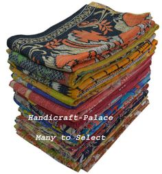 Vintage-Kantha-Quilt-Reversible-Throw-Handmade-Bedspread-Blanket-MANY-TO-SELECT