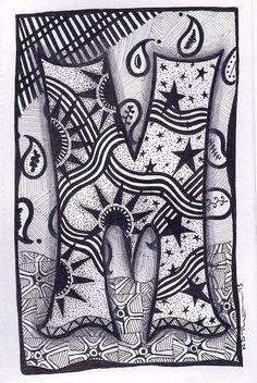 Zentangle Letter M Zebra Letters name bunting por ForeverTangles
