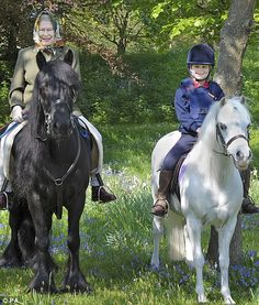 The Queen out riding in Windsor Great Park on Easter Monday last year with her youngest granddaughter Lady Louise.