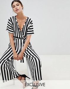 Discover women's jumpsuits & playsuits with ASOS. Shop a range of women's jumpsuits, unitards, playsuits and dungarees with ASOS. Hot Outfits, Spring Outfits, Fashion Outfits, Striped Jumpsuit, Short Jumpsuit, Pant Jumpsuit, Asos, Stripes Fashion, Couture