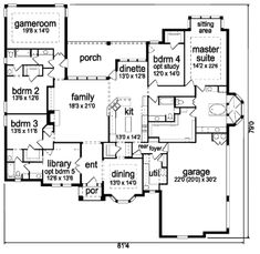 European Style House Plan - 4 Beds 4 Baths 3660 Sq/Ft Plan #84-416 Floor Plan - Main Floor Plan - Houseplans.com