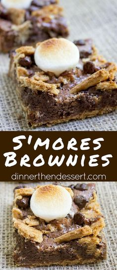 S\'mores Brownies start with a graham cracker base and rich chocolate brownie. They\'re topped with buttery graham crackers, milk chocolate chips and toasted marshmallows for the perfect summery treat with no bonfire!