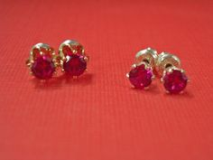 These cute little sterling silver 4mm manmade ruby post earrings are still available in my Etsy shop.