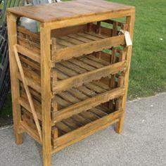 Rustic pine vegetable rack.