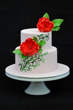 Swirls and Frills wedding cake  		 ~  hand painted cake with sugar flower peonies ~ all edible