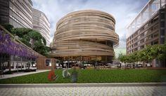 кенго кума-самая дорогая-обмен-Сидней-библиотека-круглой-башни-designboom-02