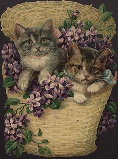 Victorian Kittens in Basket Die Cut