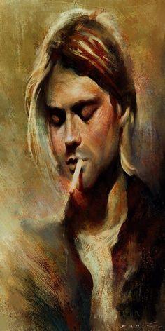 Kurt Cobain Painting, Kurt Cobain Art, Kurt Cobain Photos, Nirvana Kurt Cobain, Kurt Cobain Tattoo, Nirvana Art, Totenkopf Tattoos, Art Drawings, Street Art