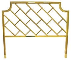 Brass Fretwork Headboard, Queen Queen-size brass bamboo-style fretwork headboard. As described by URBAGE