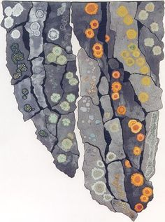 'Lichens' by Anne Jones. A quilted construction on which the 'lichens' have been intricately embroidered.