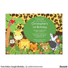 "Cute Safari Jungle Birthday Party Invitations 5"" X 7"" Invitation Card"
