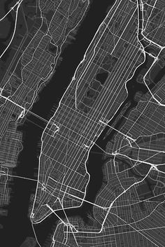 Minimalistic map of Manhattan, New York, USA. Showing only road infrastructure with variable size and color according to the type of road. / For more information visit Graphical-Maps.com / Or follow Graphical-Maps on Facebook / Close-up of similar map to show level of details. / Map data © OpenStreetMap contributors, CC-BY-SA • Also buy this artwork on wall prints, apparel, stickers, and more.