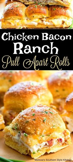 Chicken Bacon Ranch Pull Apart Rolls - My Best Recipes Bbq Chicken Pizza, Chicken Bacon Ranch Sandwich, Chicken Sliders, Ranch Chicken, Slider Sandwiches, Slow Cooker, Bacon Appetizers, Chicken Appetizers, Quick Appetizers