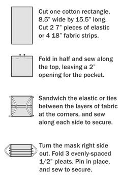 A free pattern for a DIY fabric face mask to sew for hospitals. This fabric mask has a standard pleated design with an optional pocket for additional insert filter material. Use elastic ear loops or fabric ties. face mask sewing pattern with filter free Sewing Hacks, Sewing Tutorials, Sewing Projects, Sewing Tips, Easy Face Masks, Diy Face Mask, Homemade Face Masks, Facemask Homemade, Sewing Patterns Free