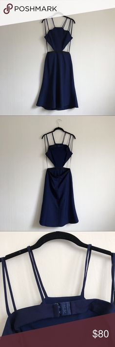 brand new revolve x nbd cutout navy midi dress a swingy sexy dress with cutout details at the waist and open back will sure make heads turn. pretty spaghetti strap details in a rich navy. back hook closure with a zip closure at the skirt. super flattering and great for any event. brand new, never worn. NBD Dresses Midi