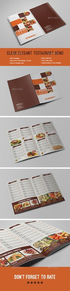 Clean Elegant Restaurant Menu Template #design #alimentationmenu Download: http://graphicriver.net/item/clean-elegant-restaurant-menu/12237092?ref=ksioks