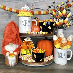What's cuter than a handcrafted candy corn gnome? Halloween Kitchen, Holidays Halloween, Halloween Crafts, Holiday Crafts, Happy Halloween, Halloween Party, Halloween Decorations, Christmas Decorations, Halloween Beads