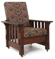 Arts And Crafts | Craftsman | Bungalow | JM Young Mission Oak 4 Slat Morris  Chair