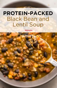 Savory and satisfying, this flavorful, protein-packed Black Bean and Lentil Soup is ideal for Meatless Mondays. Savory and satisfying, this flavorful, protein-packed Black Bean and Lentil Soup is ideal for Meatless Mondays. Healthy Recipes, Gourmet Recipes, Dinner Recipes, Cooking Recipes, Protein Recipes, Seafood Recipes, Breakfast Recipes, Detox Breakfast, Cooking Fish