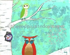 Wise Owls  Print of a Reproduction of my original mixed media