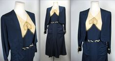1920's Navy and Cream Silk Day Dress with by WildWoodRoseVintage, $385.00