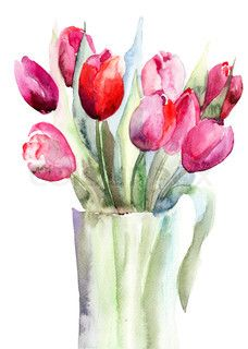 Image of 'Beautiful Tulips flowers, Watercolor painting'