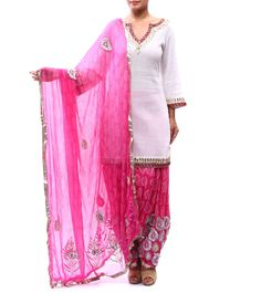 Pink & White Gota Work #Malmal & #Chiffon #Patiala #Salwar #Kameez from #La Patiala by #Mariam #Khan at #Indianroots