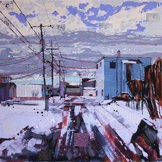 "welcome to biggar saskatchewan  mixed media on canvas, 36"" x 36""   SOLD"