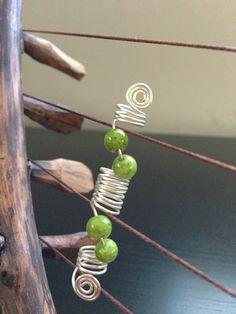 Green Beaded dreadlock jewelry.   4 Locks, Twists or Braids.  By WutKnoTz on Etsy.